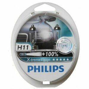 Philips H11 Upgrade X Tremevision 100 More Bright White Light Bulb 12362 64211