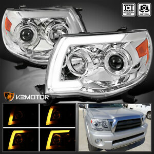 For 2005 2011 Toyota Tacoma Sequential Signal Led Drl Tube Projector Headlights