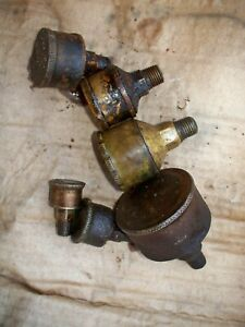 Lot Of 6 Ea Antique Hit And Miss Gas Steam Engine Grease Cup Oiler Vintage