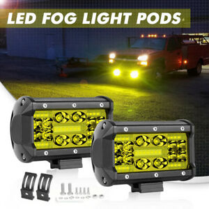 2x 5 Cree Quad Row Led Light Bar Flood Pods 3000k Driving Fog Off Road 12v Atv