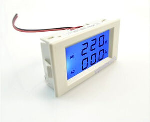 2 In1 Ac 300v 50a Dual Panel Volt Amp Combo Meter ct Blue Lcd Need No Power