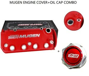 Red Mugen Racing Rocker Engine Valve Cover W Oil Cap For Honda Civic Vtec Sohc