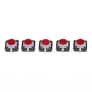 5pcs 12 12 7 3 Red Tactile Push Button Switch Momentary Tact Led Bu