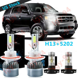 4pc H13 9008 Led Headlight 5202 Fog Light Bulb C6 For Ford Escape 2008 2012