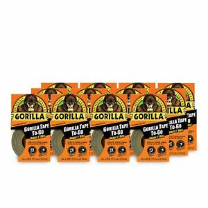 Gorilla Tape Mini Duct Tape To go 1 X 10 Yd Travel Size Black pack Of 12