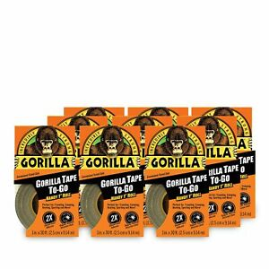 Gorilla Tape Mini Duct Tape To go 1 X 10 Yd Travel Size Black pack Of 9