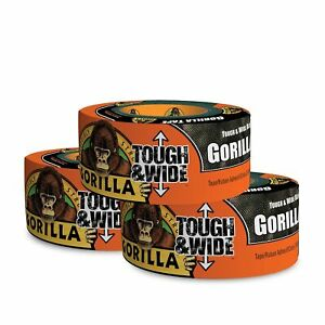 Gorilla Tape Black Tough Wide Duct Tape 2 88 X 30 Yd Black pack Of 3