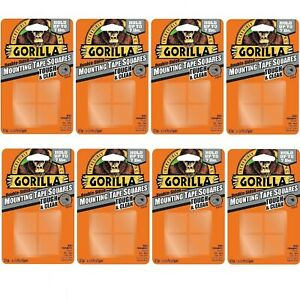 Gorilla 6067201 Mounting Tape Squares Tough Clear 8 Pack