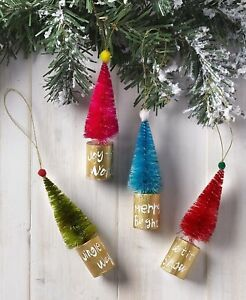 Set Of 4 Bottle Brush Christmas Tree Ornaments Holiday Home Decor