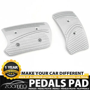 2x set Universal Racing Sport Non slip Silver Metal Automatic Car Pedals Pad Lw2