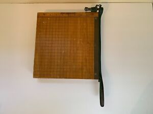 Vintage Sears Roebuck Co Paper Cutter 10 x10 Wood Cast Iron Nice
