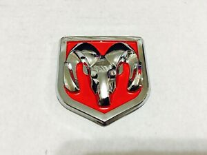 1 Pcs Dodge Ram Head Badge Front Or Rear Red Chrome 60 X 65 Mm 2 36 X 2 56