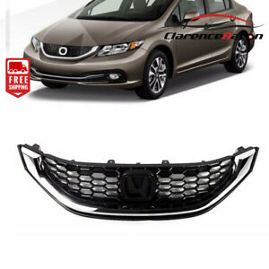 Fits Honda Civic 2013 2015 Sedan 4dr Front Grille Grill Chrome Black Honeycomb