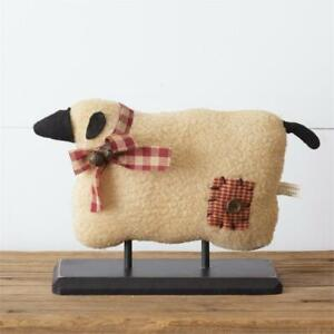 New Primitive Country Farmhouse Folk Art Colonial Wooly Sheep On Wood Base