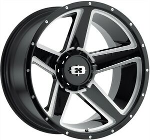 20 Inch 8 Lug 8x170 Black And Milled F250 Rims 20x9 12mm Set Of 4 Wheels
