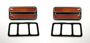 Pair Amber Deluxe Side Marker Lights Turn Signals For 1968 1972 Chevy Gmc Truck