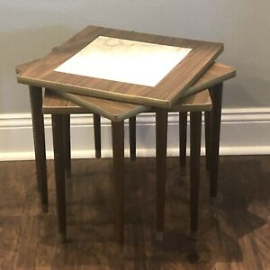 Vintage Mid Century Square Stacking Nesting Tables Marble Formica Mcm End Tables