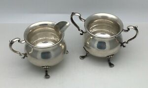 Antique Hunt Sterling Silver Sugar Creamer 155 Footed