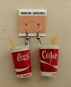 Vintage Coca Cola Coke Cup Earrings Pair From The 70's 80's Coke Cup Ice Straw
