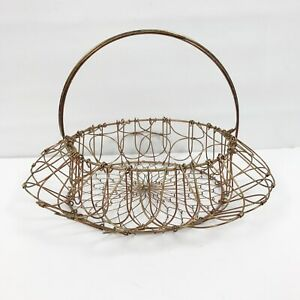 Vintage Farm Wire Mesh Collapsible Egg Gathering Basket Rustic