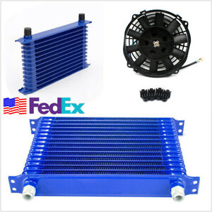 15 Row An 10 Engine Transmission Oil Cooler W 12v 8 Electric Fan Kit Us Stock