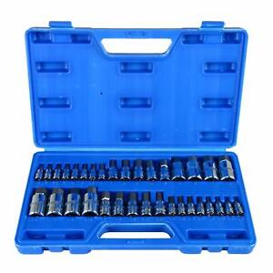 34pc Hex Allen Wrench Master Socket Bits Kit Set Sae Metric Steel 1 4 3 8 1 2
