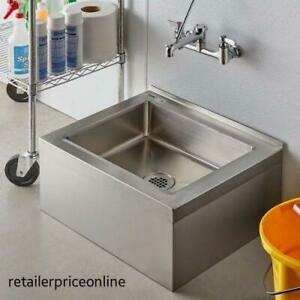 One Compartment Floor Mop Sink 20 X 16 X 6 Wall Mounted With Vacuum Breaker