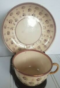 Antique Early Staffordshire Lusterware Tea Cup Saucer Soft Paste Pearl Ware B