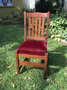 Original L J G Stickley Oak And Mohair Dining Side Chair Mission Arts Crafts