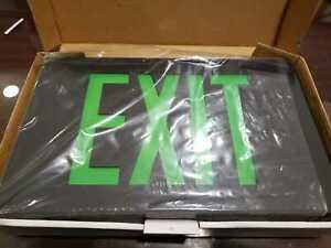 Isolite Green Metal Led Exit Sign Die cast Black Finish battery Included