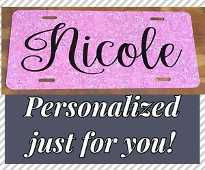 Pink Glitter Like License Plate Personalized Monogram Does Not Sparkle Car Tag