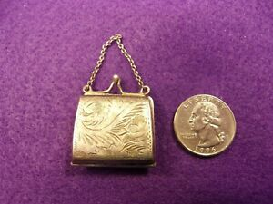 Beautiful Vtg Antique Sterling Silver Pill Box Tiny Hinged Purse With Chain
