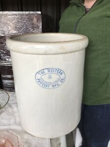 Vintage 8 Gallon Western Stoneware Crock Very Large 16 5 Tall Excel Cond