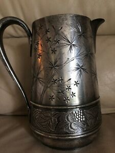 Antique Vtg Pairpoint Quadruple Silver Plate Pitcher Grapes 1830 Very Rare