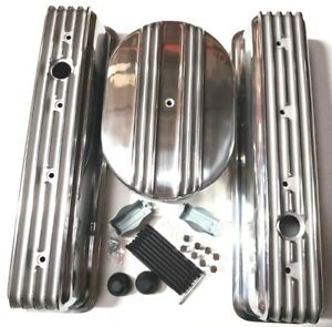 Sb Chevy Tall Finned Center Bolt Aluminum Valve Cover Kit W Air Cleaner 87 95