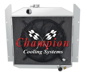 3 Row Performance Champion Radiator W 16 Fan For 1949 1952 Studebaker Pickup