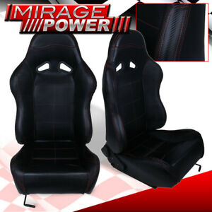 X2 Black Pvc Leather Red Stitching Racing Seats Pair For Integra Rsx Legend