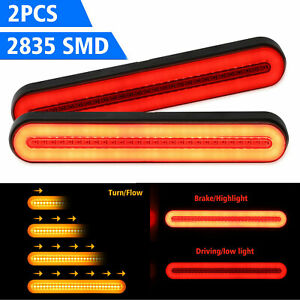 Car Truck Drl Led Light Bar Brake Flowing Turn Signal Stop Tail Strip Smd Smoked