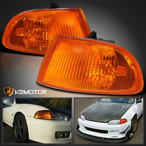 For 1992 1995 Honda Civic 2 3dr Amber Signal Corner Lights Lamps Pair Left Right
