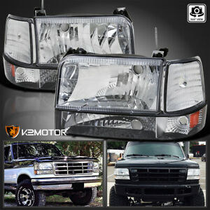 For 1992 1996 Ford F150 F250 F350 Bronco Headlights parking Bumper corner Lamps