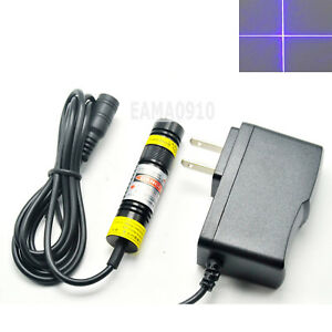Cross Focusable 405nm 300mw Blue violet Laser Module Diode W 5v Adapter 16x68mm