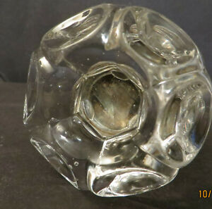 Rare Vintage Glass Door Knob Brass Hub One For Replacement