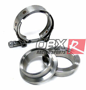 Obx Stainless Steel Vband V Band Flange Clamps Kit 2 00 2 2 In Inch Exhaust