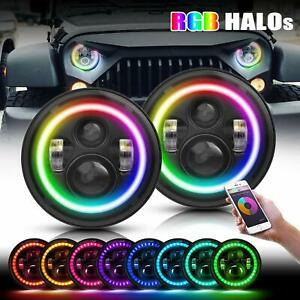 2pcs 7 Rgb Led Headlights Halo Drl Lights For Jeep Wrangler Jk Tj Lj Combo Kit