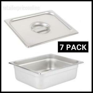 7 Pack 1 2 Size 4 Deep Stainless Steel Steam Table Hotel Pan With Lid