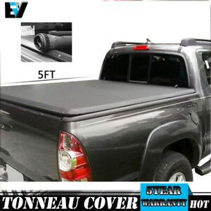 Fit 16 2019 Toyota Truck Tacoma Sr5 Crew Cab Bed 5ft Soft Roll Up Tonneau Cover