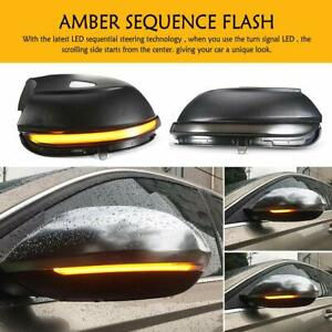 Dynamic Smoked Led Turn Signal Side Mirror For Vw Passat Scirocco Mk3 Cc Eos B7
