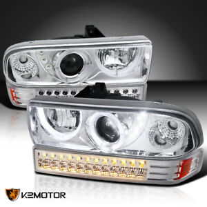 1998 2004 Chevy S10 Blazer Halo Led Clear Projector Headlights led Bumper Lights