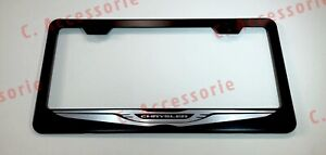 Chrysler Stainless Steel Black Finished License Plate Frame W Caps