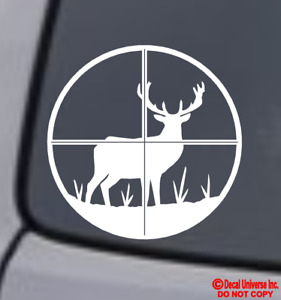 Deer Hunter Vinyl Decal Sticker Car Window Wall Bumper Hunting Rifle Crosshairs
